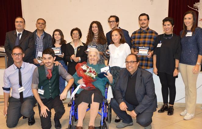 Foto di gruppo vincitori premio Vera Caproni 2017 venerdi 13 ottobre sala Lepori Iglesias
