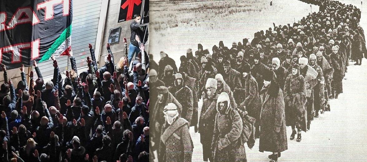 corteo fascista e ritirata di russia