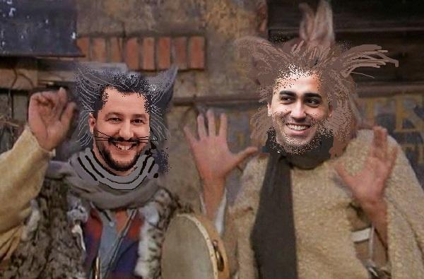 Salvini Gatto e Di Maio Volpe