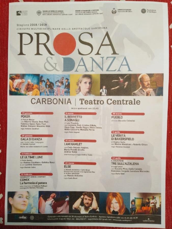 cartellone stagione teatrale Carbonia